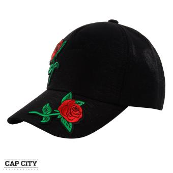 Cap City Two Rose Flower Plain Satin Baseball Cap (Black)