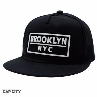 Cap City Unisex Denim Hip Hop NYC New York Brooklyn Text Snapback (Black)