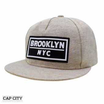 Cap City Unisex Denim Hip Hop NYC New York Brooklyn Text Snapback(Cream)