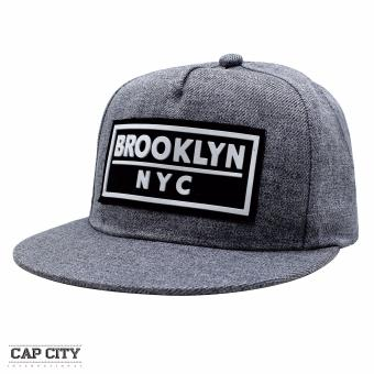 Cap City Unisex Denim Hip Hop NYC New York Brooklyn Text Snapback(Light Grey)