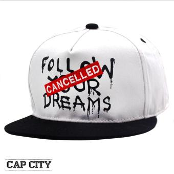 Cap City Unisex Hip Hop Follow Your Dreams - Cancelled Snapback (White)