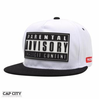 Cap City Unisex Hip-hop Parental Advisory Snapback (White)