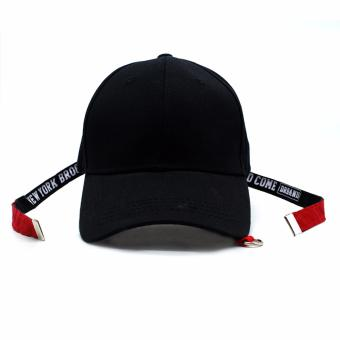 Cap City Unisex Korean Style NY New York Long Clip Strap Adjustment Basball Cap (Black) - 2
