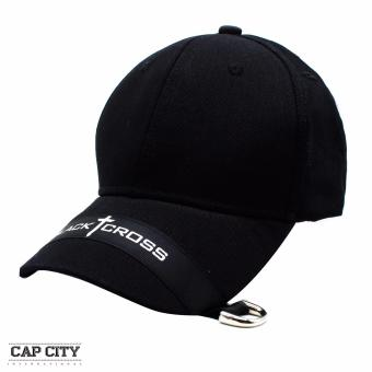 Cap City Unisex Plain Black Cross Korean Baseball Cap (Black) Price Philippines