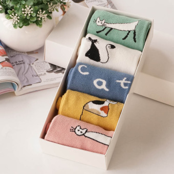 Cartoon cotton printed Striped short Socks (Persian cat tube socks (5 pairs loaded))