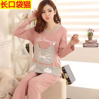 Cartoon female long-sleeved cotton Plus-sized tracksuit pajamas (Long sleeve with pockets cat)