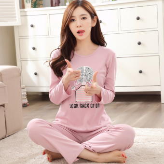 Cartoon female long-sleeved cotton Plus-sized tracksuit pajamas (Long sleeve ZP804)