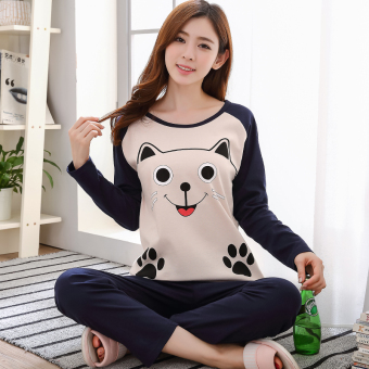 Cartoon female Spring and Autumn long-sleeved cotton tracksuit pajamas (Long-sleeved 1773 it cat)