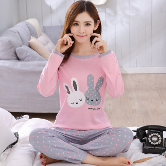 Cartoon female Spring and Autumn long-sleeved cotton tracksuit pajamas (Long-sleeved 1778 Powder Point double rabbit)