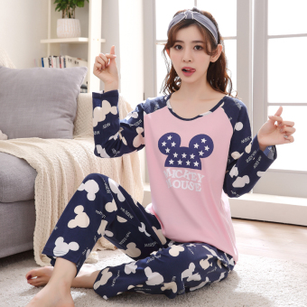 Cartoon female Spring and Autumn long-sleeved cotton tracksuit pajamas (Rose color)