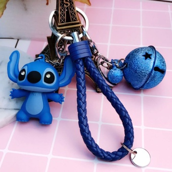 Cartoon Gluing Glowing Sound Stitching Di Key Chain of Creative CarBag Couple Pendant Gift(Blue) - intl