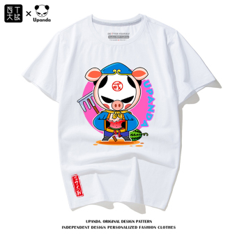 Cartoon New style summer cotton T-shirt short sleeved t-shirt (White Pig) (White Pig)