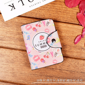 Cartoon Women's student thin card holder small card holder (GT1031 Strawberry Powder)