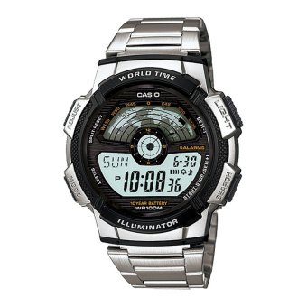 Casio Digital Men's Silver Stainless Steel Band Sports Watch AE-1100WD-1AVSDF