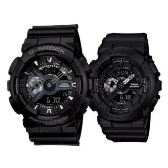 Casio G-Shock GA-110-1B and Baby G BA-110BC-1A Couple Resin Strap Watch Black
