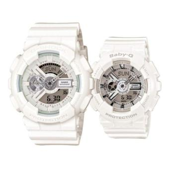 Casio G-Shock GA-110BC-7A and Baby-G Couple BA-110-7A3 Resin Strap Watch White