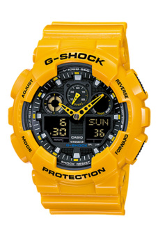 Casio G-Shock Men's YELLOW Resin Strap Watch GA-100A-9A