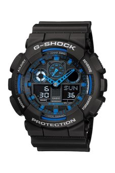 Casio G-Shock Men's Black/Blue Dial Resin Strap Watch (GA-100-1A2)