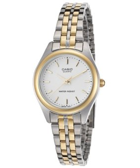 Casio Womens Silver Stainless Steel Bezel with Two-tone Band Watch LTP-1129G-7ARDF