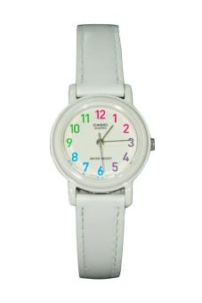 Casio Women's White Leather Strap Watch LQ-139L-7BDF