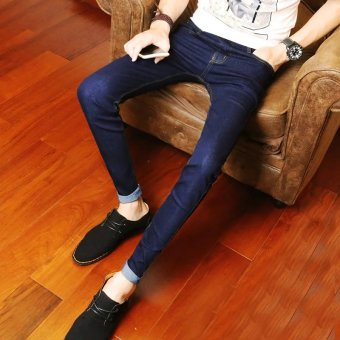 Casual black men's Slim fit long pants skinny denim pants (Blue-pants)