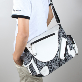 Casual canvas Japanese and Korean Style High School Students school bag men's shoulder bag (Black and white printed) (Black and white printed)