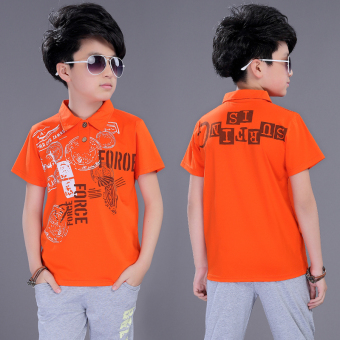 Casual children's New style Fold-down collar polo shirt T-shirt (Orange)