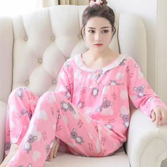 Casual cotton silk female summer tracksuit pajamas (Long-sleeved lovely Xiong Fen)