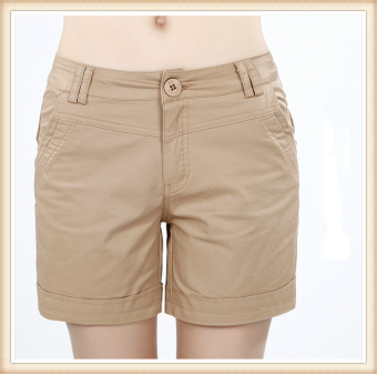 Casual cotton stretch slimming female shorts women's pants (Khaki)