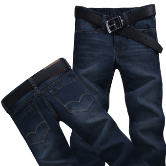 Casual cowboy black Plus-sized long pants men's cowboy pants (1017 BLUE BLACK)