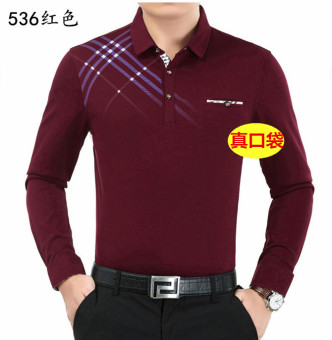 Casual Dad installed genuine base shirt men's Fold-down collar short sleeved t-shirt (536 red)