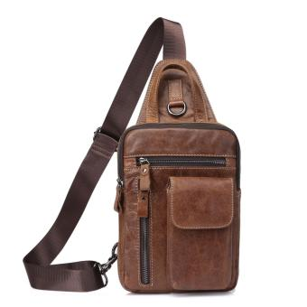 Casual Daypack Top Grain Cow Leather Sling Shoulder bag Chest pack- intl
