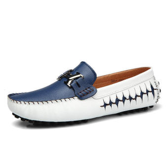 Casual Fashion Leather Men Loafers - White