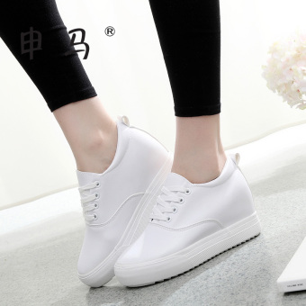 Casual female thick bottomed within by Gao Xiaobai shoes leather canvas shoes (White)