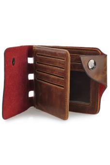 Casual Folding Split Leather Wallet for Men Coffee - 3
