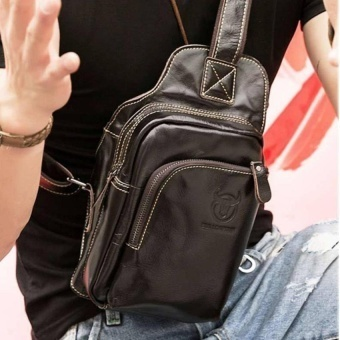 Casual Genuine Cow Leather Big Capacity Outdoor Men Shoulder Bagcrossbody Bag Sling Bag Chest Bag Daypacks For Hiking Campingcycling Travel (Black) - intl