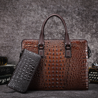 Casual leather crocodile pattern business men's handbag men's bag (PARK'S color) (PARK'S color)
