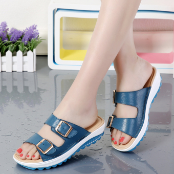 Casual leather Female pregnant women's mom shoes sandals (Blue)