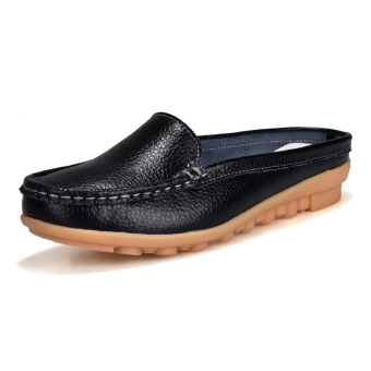 Casual leather flat women's shoes slipper shoes (Black)