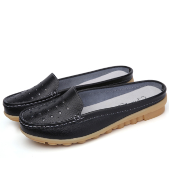 Casual leather flat women's shoes slipper shoes (Black (porous 115))