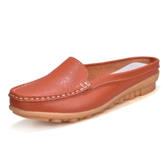 Casual leather flat women's shoes slipper shoes (Orange)