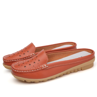 Casual leather flat women's shoes slipper shoes (Orange (porous 115))