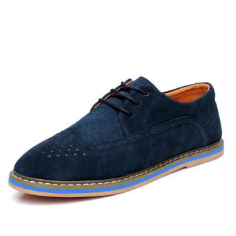 Casual Leather Lace-Ups Flat Shoes - Blue
