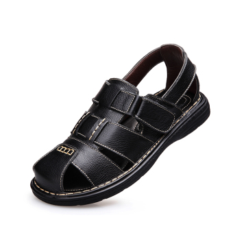 Casual leather New style breathable sandals men's sandals (Black)