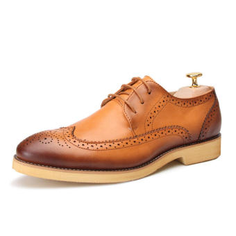 Casual Men Oxfords Formal Shoes - Brown