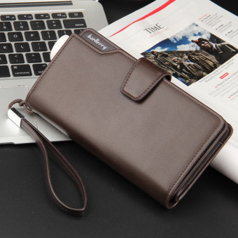 Casual men's clutch long wallet (Cracking brown color)