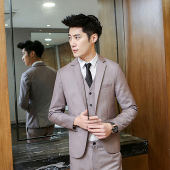 Casual men's Slim Fit Youth wedding dress (Beige one-piece suit)