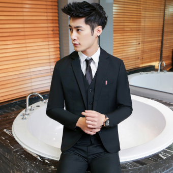 Casual men's Slim Fit Youth wedding dress (Black one-piece suit)