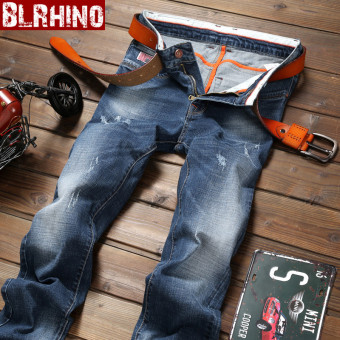 Casual men's straight Slim fit models men pants autumn New style denim pants