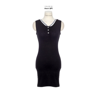 Casual mid-length slim fit sheath base skirt sleeveless vest dress
